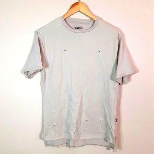 West 49 | 100%cotton distressed slash look tan tee